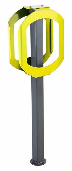 Double Ring Bike Rack, Gray/Yellow