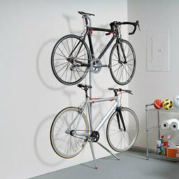 Leaning Bike Rack Extra Storage For Home Dual Hanger Wall Le